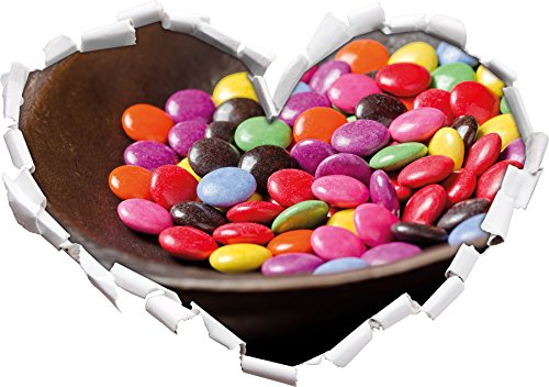 Chocolate Bonbons Smarties de Chocolat en Forme de Coeur dans Le Regard 3D, Mur ou Une Porte Autocollant Format: 62x43.5cm, Stickers muraux, Stickers muraux, Décoration Murale