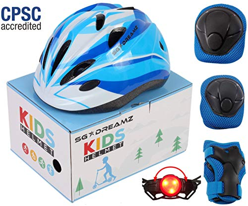 SG Dreamz Kids Helmet with Protective Gear – Adjustable from Toddler to Youth Size Ages 3 to 7 - Nice Package Perfect for Gift - Multi-Sports w LED Safety Light - CSPC Certified (H12+LED+BoxPG+Blue)