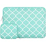 MOSISO Laptop Sleeve Bag Compatible with 13-13.3 inch MacBook Pro, MacBook Air, Notebook Computer with Small Case, Canvas Geometric Pattern Protective Carrying Cover, Hot Blue Quatrefoil