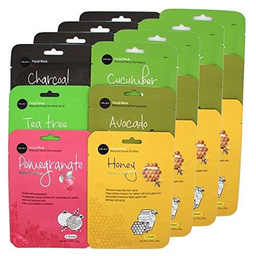 Celavi Essence Facial Face Mask Paper Sheet Korea Skin Care Moisturizing 4 packs for each 6 flavors (New) K-Beauty Skincare 24 masks in a pack Made in Korea