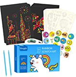 Scratch Art Paper 100 Hojas con 10 Plantillas Dibujos 2 Lápices Azules, Manualidades Rascar Rainbow...