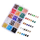 SROMAY 300pcs 8x12mm Teardrop Glass Crystal Beads Center Drilled Assorted AB Color Faceted Spacer Beads for Jewelry Making with Container Box