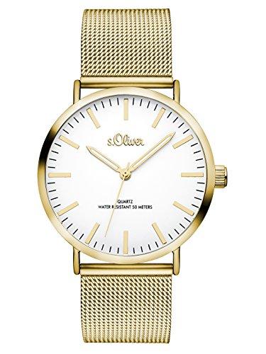 s.Oliver Damen Analog Quarz Armbanduhr mit Edelstahlarmband SO-3238-MQ