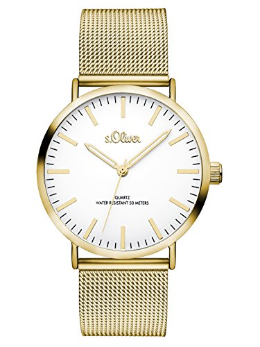 S.Oliver Damen Analog Quarz Armbanduhr SO-3238-MQ, IP Gold-Weiß