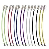 Golvery Multicolor alambre de acero inoxidable llavero, llavero, 4 inch clave Cable anillos para colgar etiqueta para equipaje, Llavero, llavero y etiqueta ID Keepers, 14 de unidades, 7 colores