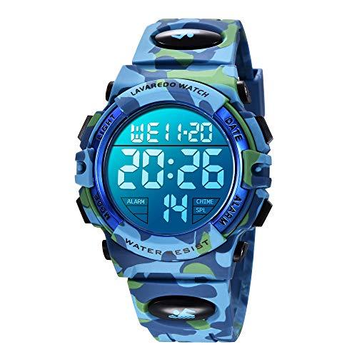 Reloj niños, Reloj para Niños Digital Sport Multifunción Cronógrafo LED 50M Impermeable Alarma Reloj analógico para Niños con Banda De Silicona Azul Militar