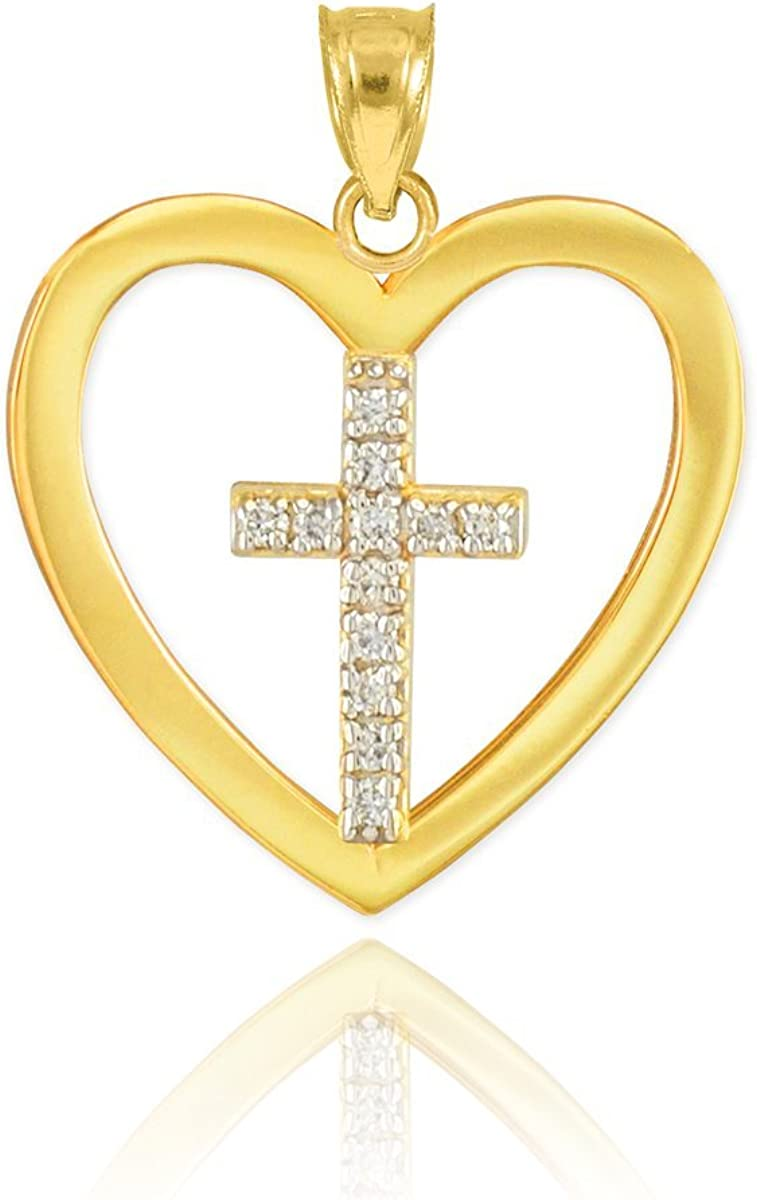 Polished OFFer 14k Gold Chicago Mall Diamond Cross Charm Open in Heart Pendant