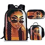 Smileygil Black African Girls Schoolbags Unique High School Children Kdis Backpack Bagpack Set Middle Student Kids Book Bag 3 Piece