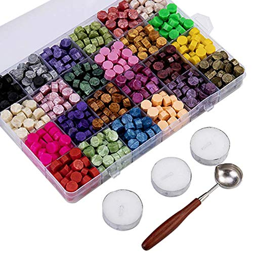 Verdelife 600 pezzi perline di cera sigillante, bastoncini di ceralacca ottagonale, cera sigillante per vernice retrò con cucchiaio per fusione di cera (24 colori)