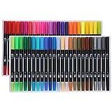 Ranvo Aquarell-Pinselstifte, wasserlösliche Flüssigkeit und geruchlose Tinte Aquarellmalerei zum Ausmalen von Kalligraphie und Zeichnen(STHG-48 Farbe)