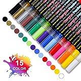 FAGORY Rotuladores Metálicos - 15 colores Rock Paint Kit Bolígrafos para hacer tarjetas, álbumes de recortes, álbum de fotos DIY, plástico, vidrio, piedra, ropa y cerámica, punta extrafina de 0,7 mm