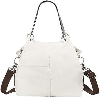 Wultia - Women Bag Fashion Women Girl Outdoor Canvas Pure Color Shoulder Bag Hand Bag Travel Bag Bolsa Feminina White