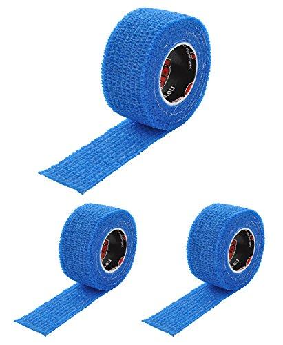 Pflaster selbsthaftend (kohäsiv), wasserfest, latexfrei, reine Baumwolle – Fixierpflaster elastisch für Finger (Fingerpflaster), Hand, Zehen, Füße, ohne Kleber – Set von ResQ-tape (Blau, 3er Set)