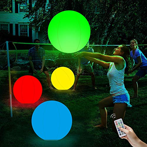 Pool Floating Toys Glow 16'' Beach Ball 13 Colors Changing LED Light Up Floating Inflatable with...