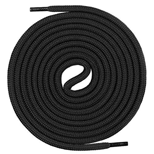 Mount Swiss runde Premium-Schnürsenkel für Arbeitsschuhe Wanderschuhe und Trekkingschuhe - 100% Polyester - extrem reißfest - ø 5 mm - Farbe Schwarz Länge 60cm
