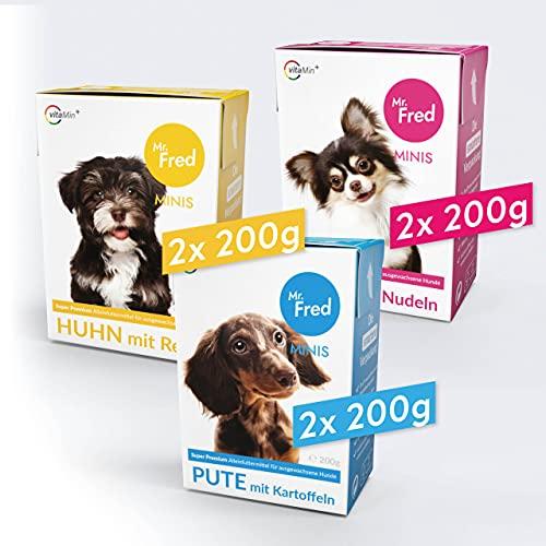 Mr. Fred- Hundefutter nass | Super Premium Nassfutter für Hunde | Probierbox 6 x 200g | Lebensmittelqualität | Rind, Huhn, Pute | wiederverschließbar