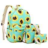 FLYMEI Sunflower Backpacks for Girls, Cute Bookbags for Women Lightweight Fashion Backpack, 15.6 Inch Laptop Backpack for School Green Backpack, Cool Floral Backpack