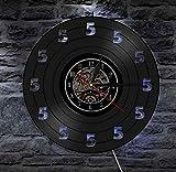 Hueco 7 colores LED luz es tiempo de cerveza diseño vintage iluminado vinilo disco reloj de pared cinco O Clock sólo 5 relojes decorativos pared tiempo