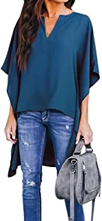 Joteisy Women's V Neck Casual High Low Hem Blouse, Batwing Sleeve Tops