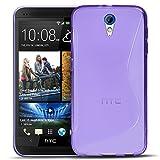 Conie SC5330 S Line Hülle Kompatibel mit HTC Desire 620, TPU Smartphone Hülle Transparent Matt rutschfeste Oberfläche für Desire 620 Rückseite Design Lila