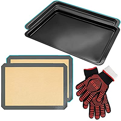 """KLEVERISE 3 in 1 Bakeware Set/14.5"""" Rectangular Thickened Non-Stick Baking Tray&Non-Stick Silicone Glass Fiber Baking Pad Mats/Heat Insulation Gloves Heat Resistant to 1450°F(800?)"""