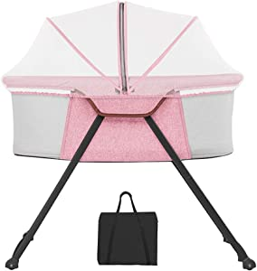 XJJUN-Rocking crib Foldable Easy Carry Anti-mosquito Bites Universal Wheel Stable Suitable For Babies 3 Colors  Styles  Color Pink-A  Size 84x51x68cm