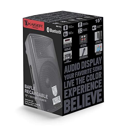 Kaizer MSA-7515 – Kit de Bafle Amplificado Inalámbrico con Bluetooth y 1 Micrófono, 4500 W PMPO, 15″