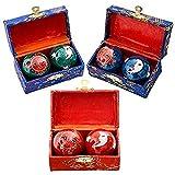 Happy Sales HSHB-SMHB01, Chinese Health Balls Baoding Iron Ball Sun & Moon, Order comes With Random Color Pick