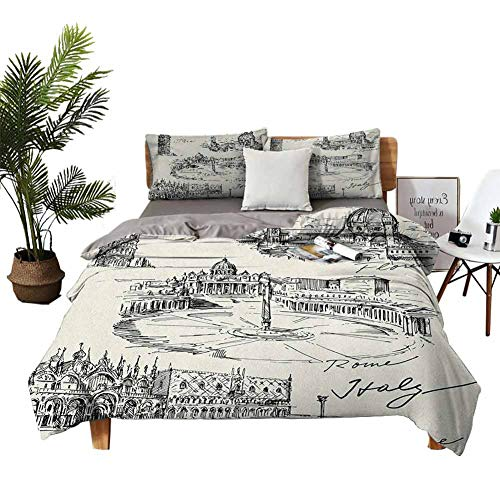 DRAGON VINES 4pcs Bedding Set bedclothes flat sheet Home Textile Series bedding Travel the World Themed Historical Italian Landmarks Venice Rome Florence Pisa Black Cream bright color W104 xL90
