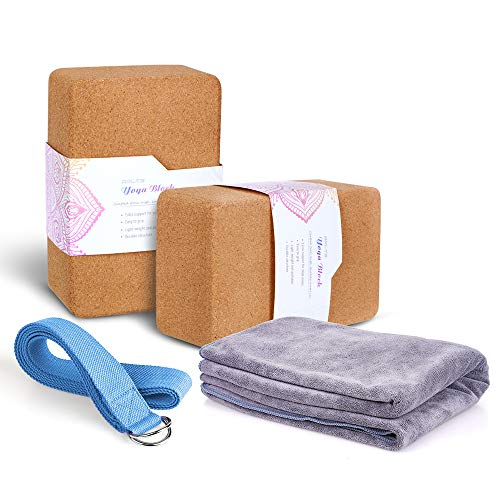 "Arltb Yoga Blocks 2 Pack Cork Yoga Brick 9""x6""x4"" with Metal D-Ring Yoga Strap Eco-Friendly EVA Foam Exercise Blocks Set Provides Stability and Balance"