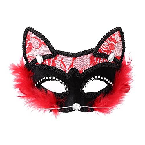 MSemis Antifaz de Gato Sexy Mujer Máscara de Encaje Negro Máscaras de Mascarada Veneciano para Fiesta de Carnaval de la Mascarada Negro Rojo One Size