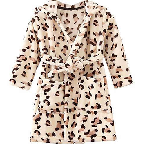 JZLPIN Unisex Baby Mit Kapuze Bademantel Kinder Flanell Pyjama Morgenmantel zum Jungen Mädchen (100CM(1-2 Jahre), Kaffee Leopard)