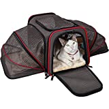 Petsfit Cat Carrier Expandable Dog Carrier for Medium Dogs, Expandable Pet Carrier Most Airline Approved, Two Side Expasion, Easy Carry on Luggage with Fleece Mat Grey18 x11 x11