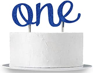 INNORU First Birthday Cake Topper, Blue Glitter Double Sided 1st One Birthday Cake Decoration