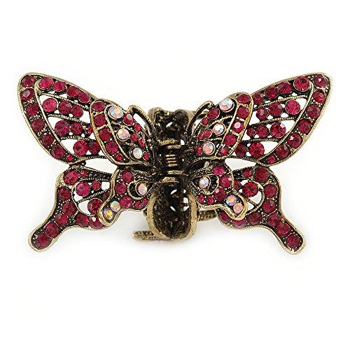 Avalaya - Pinza para el pelo con diseño de mariposa de cristal magenta con alas móviles, color dorado envejecido, 85 mm de ancho