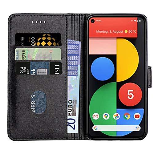 Baiyian Ledertasche Brieftasche Schutzhülle Flip Hülle für Google Pixel 5, Schwarz