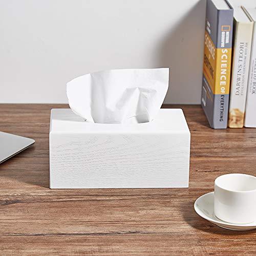 Caja de pañuelos rectangular de madera de papel blanco caja de pañuelos...