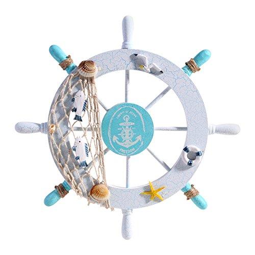 WINOMO Steuerrad aus Holz wanddeko Maritime Dekoration Schiff lenkrad Nautik-Schiffs-Rad-Wand-Dekor-Strand-hölzernes Boot-Fischen-Netz-Shell