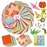 HOWAF 154 Hojas de Colorido Kit de Origami, Papel de Origami Cuadrado doblado a Doble Cara de 15 cm x 15 cm con Libro de Instrucciones de Origami para proyectos de Manualidades