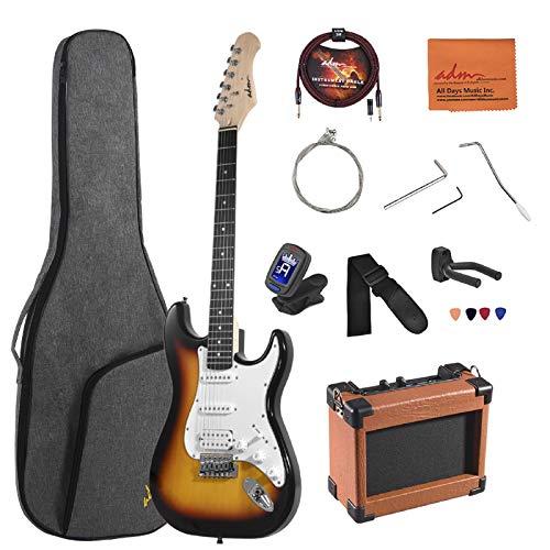 ADM Electric Guitar Beginner Kit 39 Inch Full Size Sunburst, Starter Package with Amplifier, Bag, Strap, String, Tuner, Cable and Picks (Sunburst)