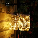 Solar Mason Jar luces ledmomo vasos Tapa Árbol de luz para exterior jardín fiesta decoración navideña (Luz Blanco Cálido)