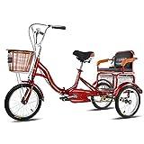 LICHUXIN Plegable Triciclo 3 Ruedas con Asiento Respaldo 16 Pulgadas Adulto 3 Ruedas Triciclo con Cestas para Compras Picnic Deportes Al Aire Libre (Color : Red)
