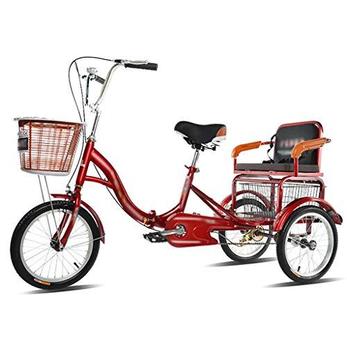 ZCXBHD Bicicleta de crucero de 3 ruedas, sistema de frenos de 16 pulgadas, triciclo de 3 ruedas, con cesta de la compra y asiento trasero para deportes al aire libre (color rojo)
