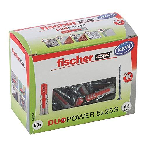 fischer 535458 Taco DuoPower Tornillos, Pared, universales, Tacos para hormigón, Caja de 50 Unidades, gris y rojo, 5X25 S, Set Piezas