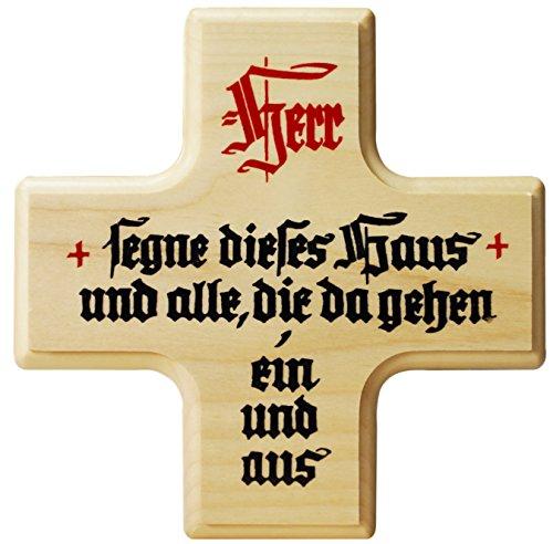 Kaltner Präsente Geschenkidee - Ahorn Holz Kreuz Kruzifix Wandkreuz mit Spruch HERR SEGNE DIESES HAUS UND ALLE DIE DA GEHEN EIN UND AUS