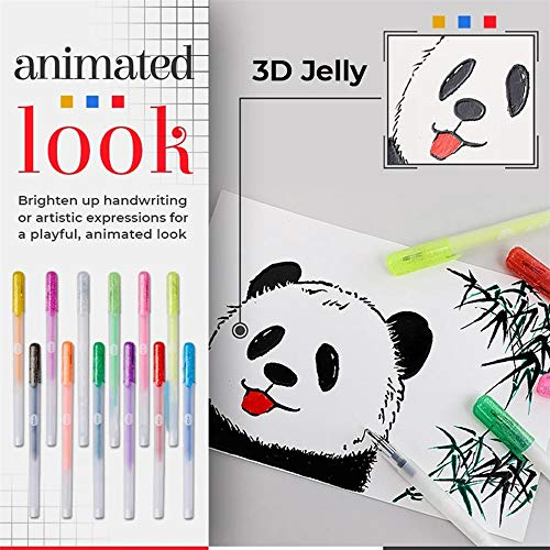 12Pack 3D Glossy Jelly Ink Pen Set, DIY Highlighters Painting Pen Glitter Pen Gel Pen Markers, Stationary Supplies School Pens Uni For Writing Painting Journaling Taking Note and Doodling