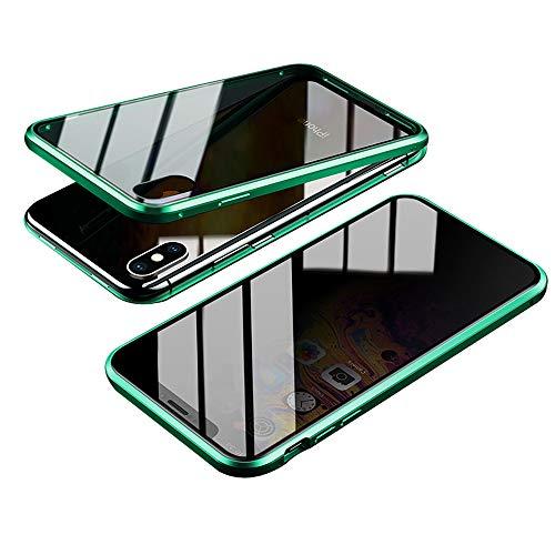 Jonwelsy Anti-Spy Funda para iPhone XS MAX (6,5 Pulgada), 360 Grados Proteccion Case, Privacidad Vidrio Templado Anti espía Cover, Adsorción Magnética Metal Bumper Cubierta para iPhone XS MAX (Verde)