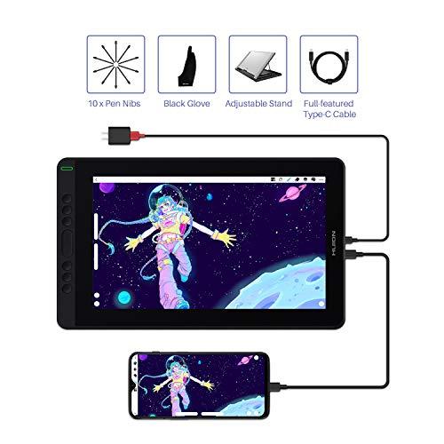 HUION 2020 Nueva Kamvas 13 Tableta Gráfica con Pantalla: Monitor de Dibujo Gráfico con Pantalla Laminada Completa, Nuevo lápiz PW517, Cable Type-C, Dispositivo Android Compatible, con Soporte, Púrpura