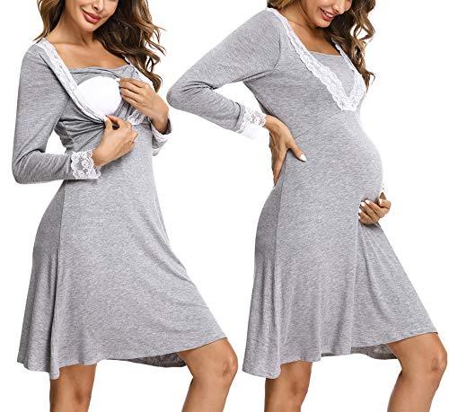 Irevial camisón Lactancia Algodon Invierno,Pijama premamá Manga Larga de Encaje, Suave Embarazo Vestidos Camisón de Maternidad Hospital,Ropa para Dormir en casa,Gris,M