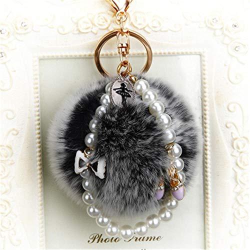 Keychains Ballet Girl Key Chain 8Cm Fluffy Ball Keychain Crystal Shoes Pom Pom Key Chains Bag Charm Keyring Pompom Llaveros Dark Grey